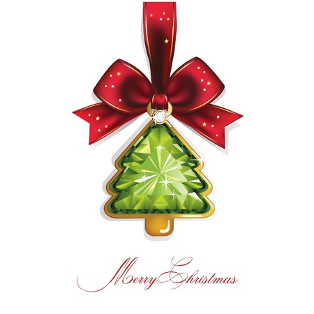 Christmas and New Year  Tree, diamond, bow  Christmas background  Vector