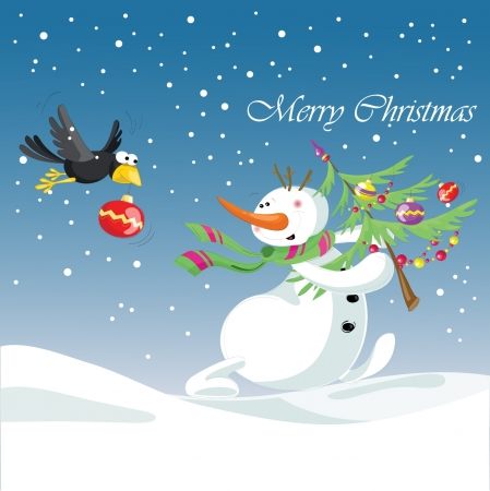 snowman with gift  Christmas, new year  Vector