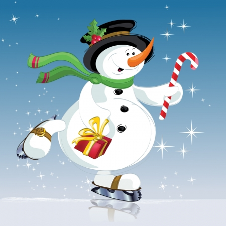 Pupazzo di neve con regalo di Natale, nuovo anno Archivio Fotografico - 16135018