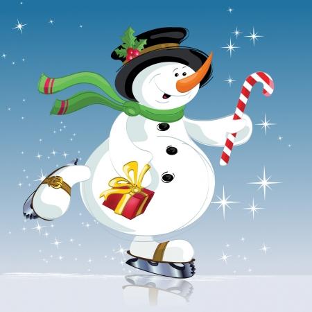 sněhulák s dárkem Vánoce, Nový rok