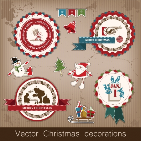 Christmas and New Year  set of decorative items, antique and vintage jewelry, banners, stamps, stickers, with snowflakes and stars design  Santa Claus, Christmas tree, snowman, reindeer   Vector