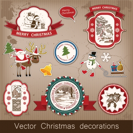 Christmas and New Year  set of decorative items, antique and vintage jewelry, banners, stamps, stickers, with snowflakes and stars design  Santa Claus, Christmas tree, snowman, reindeer   Stock Vector - 16135024