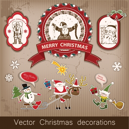 Christmas and New Year  set of decorative items, antique and vintage jewelry, banners, stamps, stickers, with snowflakes and stars design  Santa Claus, Christmas tree, snowman, reindeer   Stock Vector - 16135022