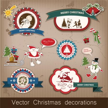 Karácsonyi és újévi sor dísztárgyakat, antik és vintage ékszerek, bannerek, bélyegek, matricák, hópelyhek és csillagok tervezése Mikulás, karácsonyfa, hóember, rénszarvas Illusztráció