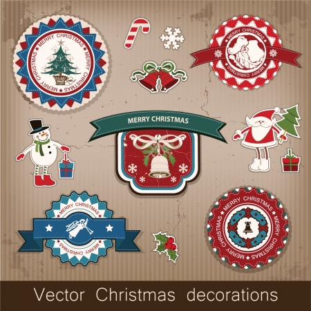 decorative items: Christmas and New Year  set of decorative items, antique and vintage jewelry, banners, stamps, stickers, with snowflakes and stars design  Santa Claus, Christmas tree, snowman, reindeer   Illustration