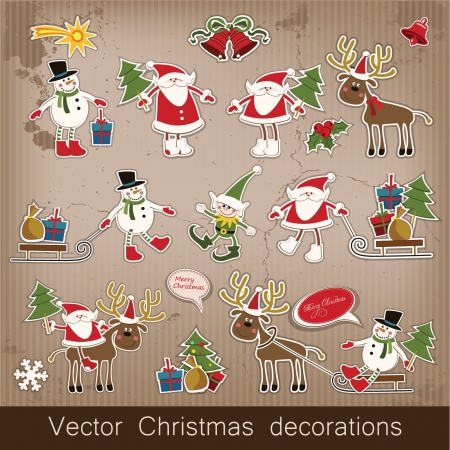 Christmas and New Year  set of decorative items, antique and vintage jewelry, banners, stamps, stickers, with snowflakes and stars design  Santa Claus, Christmas tree, snowman, reindeer   Illustration