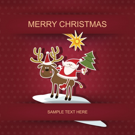 Christmas and New Year  Postcard and applique Stock Vector - 16135032