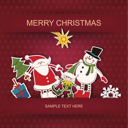 Christmas and New Year  Postcard and applique   Illusztráció