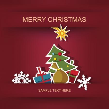 Karácsonyi és újévi képeslap és rátétes Illusztráció