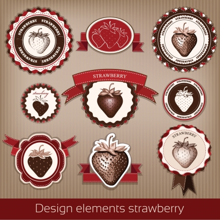 Strawberry  Stickers, icons, stamps  vector Illustration