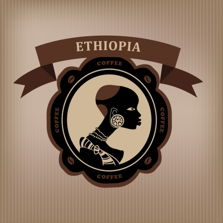 Coffee label  Ethiopia   Vector