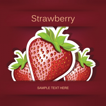 Beautiful strawberry  Postcard and applique  Stock Vector - 16457582