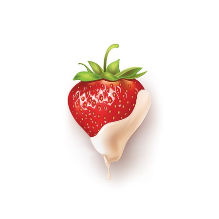 cream color: beautiful strawberries in white chocolate illustration of a realistic