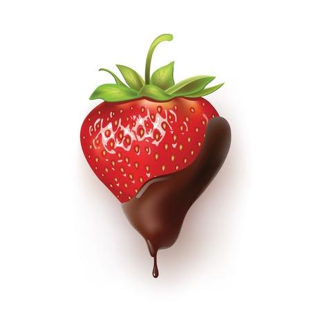 szép epret étcsokoládé illusztráció egy reális