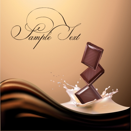 product background: chocolate and milk realistic illustration