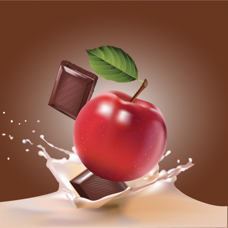 energy drink: chocolate, apple and milk realistic illustration