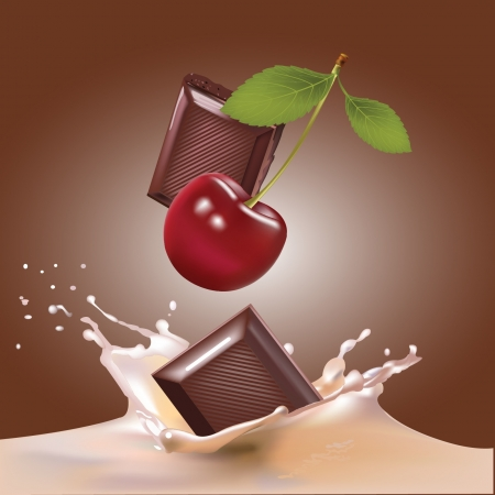Csokoládé, a cseresznye és a tej reális illusztráció Illusztráció