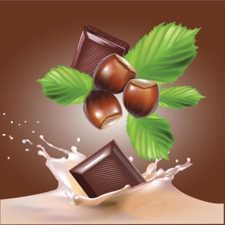 milk shake: chocolate, nuts and milk realistic illustration