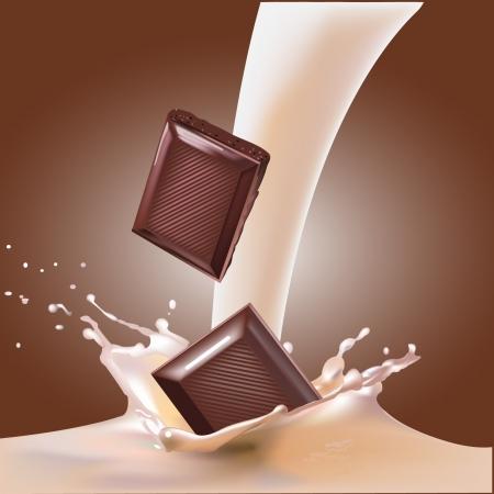 붓는 것: 초콜릿과 우유 현실적인 그림 일러스트