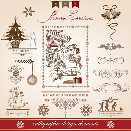 Christmas and New Year  set of decorative, calligraphic elements, antique and vintage jewelry, banners, text, separators, with snowflakes and stars design  Santa Claus  Vector