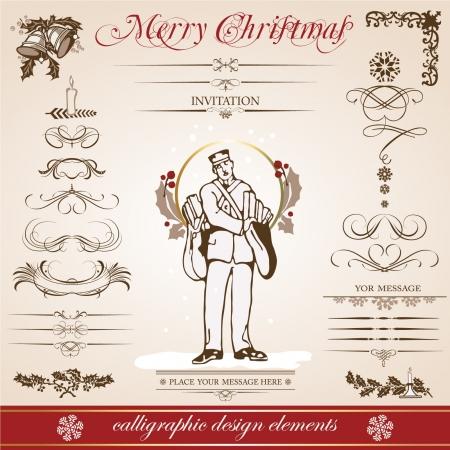Karácsonyi és újévi be dekoratív, kalligrafikus elemeket, antik és vintage ékszerek, bannerek, szöveges, szeparátor, hópelyhek és csillagok tervezni a Mikulás