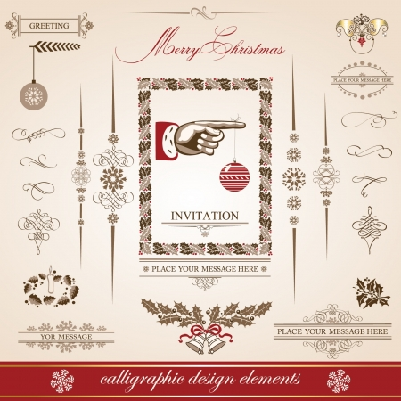 Christmas and New Year  set of decorative, calligraphic elements, antique and vintage jewelry, banners, text, separators, with snowflakes and stars design  Santa Claus