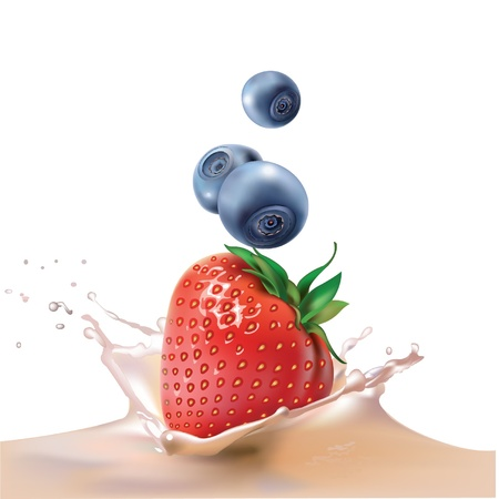 milk, strawberries and blueberries  realistic vector illustration Illustration