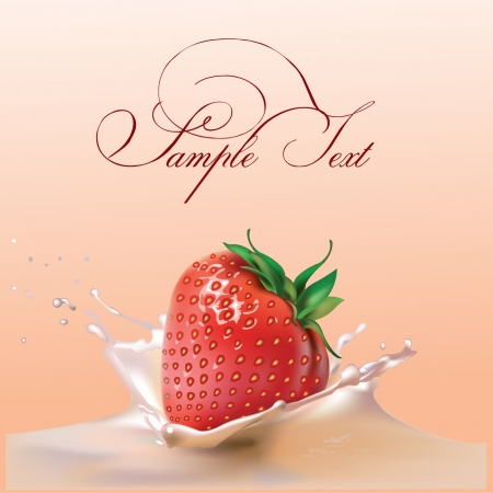 milk and strawberries  realistic vector illustration Illustration