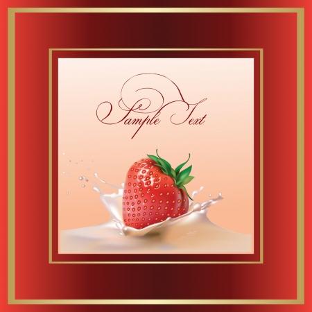 raspberry pink: milk and strawberries  realistic vector illustration Illustration