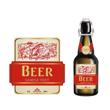 beer bottle label  realistic  illustration Illustration