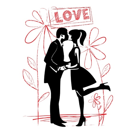 man and woman kissing  silhouette  vector Vector