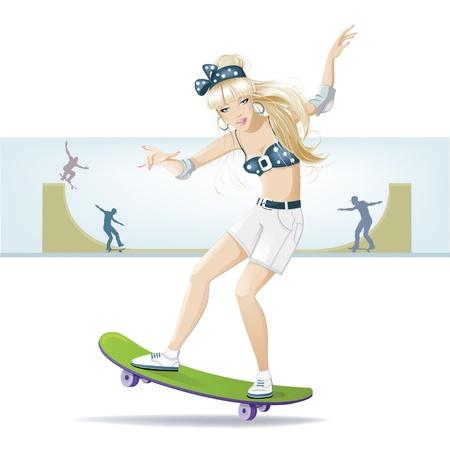 skateboard park: hermosa chica en una patineta va en los deportes