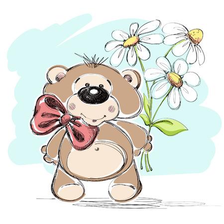 素敵な小さなクマやブーケ花のベクトル イラスト