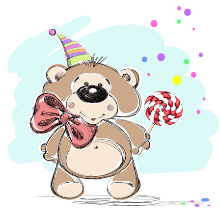 Nice little bear and candy  Vector illustration