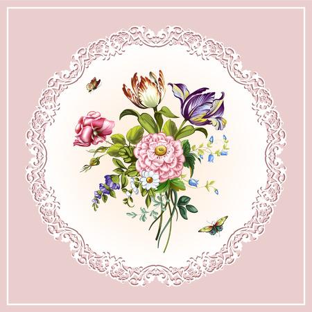 Vintage postcard with beautiful flowers Illustration