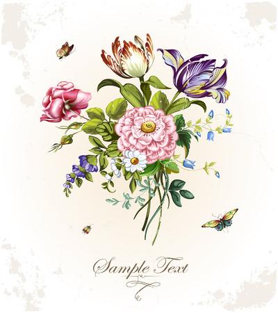 Cartolina d'epoca con bellissimi fiori Archivio Fotografico - 36630958