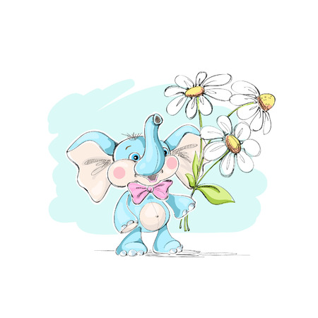 Cute, funny little elephant and a bouquet of daisies. Vector illustration.