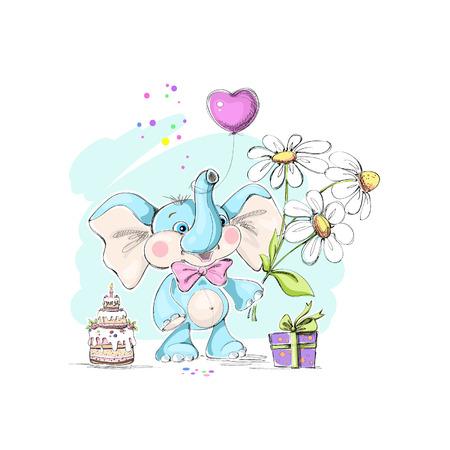 Mignon, petit éléphant drôle, bouquet de marguerites, des gâteaux et des cadeaux. Vector illustration.