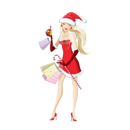 red happiness: Beautiful girl dressed as Santa Claus with shopping. Christmas discounts and sales. Vector illustration on white background.