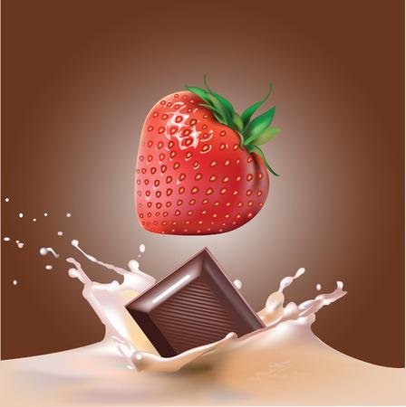 Beautiful strawberries, chocolate and milk. Beautiful raspberry drops in milk.