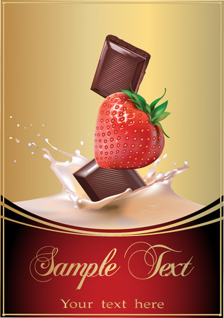 Chocolate, strawberry. Realistic vector illustration. Beautiful packaging.