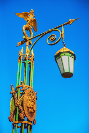 Streetlight with a gilded two-headed eagle in St. Petersburg