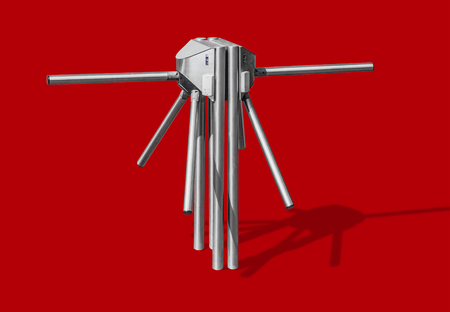 Turnstile, isolated on red background Stock Photo