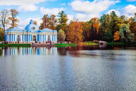 Autumn landscape with view over a garden pavilion