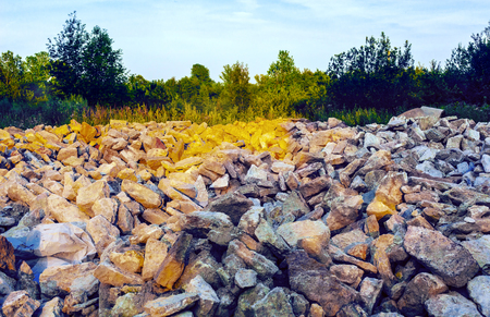 Scattering of stone boulders among grass and trees outdoors Foto de archivo - 92236262