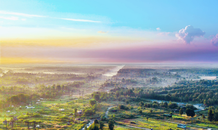 Suburban landscape, the top view and the morning sky, summer landscape Stock Photo