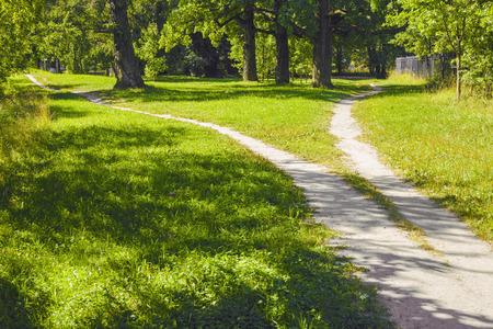 La divergencia de caminos en diferentes direcciones en el parque. Paisaje de verano Foto de archivo