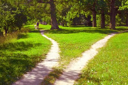 Dos caminos divergen y un ciclista solitario en uno de ellos se aleja. Paisaje de verano Foto de archivo