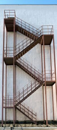 External fire escape on the wall of a tall building
