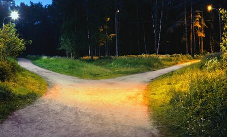 One alley in the Park at night is divided into two pedestrian paths that diverge in different directions, illuminated by electric lights Foto de archivo